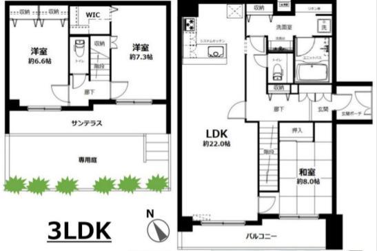 鎌倉駅から徒歩10分、メゾネットタイプの100㎡越えマンション♪5,780万円