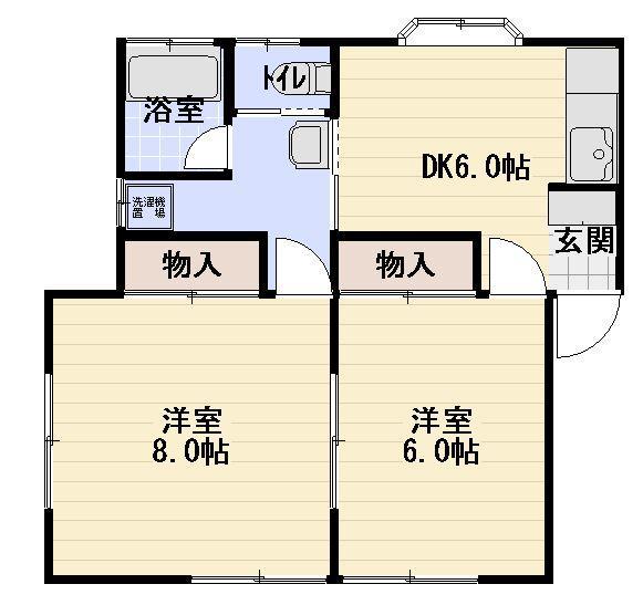 藤沢市本鵠沼駅徒歩1分メゾンパールFペット飼育可の貸アパート2DK65,000円です