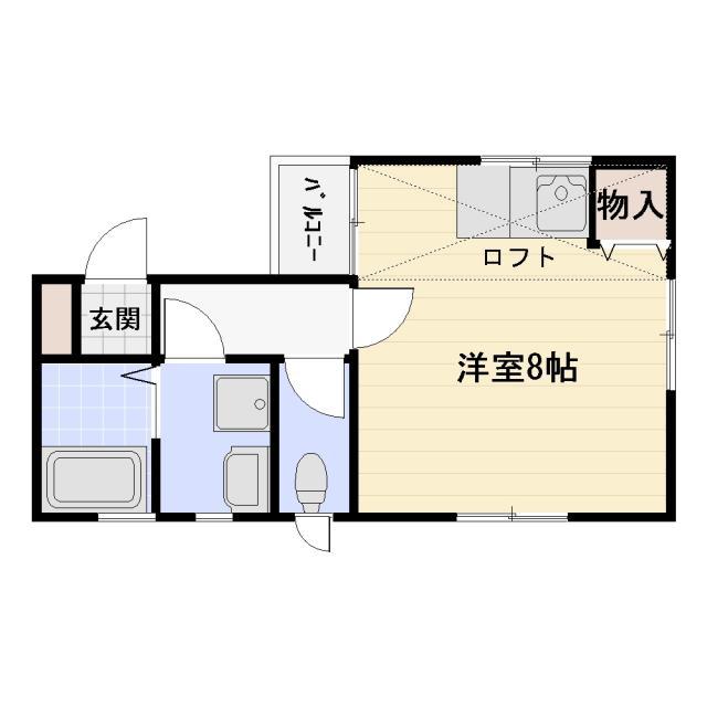 辻堂駅より徒歩15分貸アパートリトルグランデ湘南1R賃料55,000円大型ロフトあり
